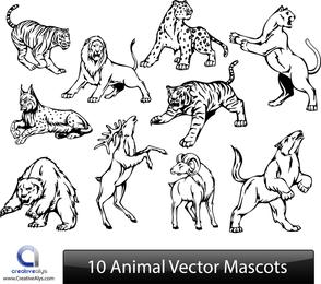 10 mascotas animales vector set