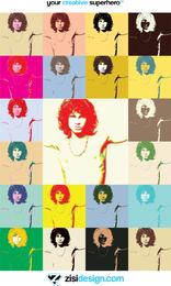 Pop Art Jim Morrison o vetor de cartaz de portas