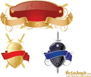Free Vector Shield And Ribbons