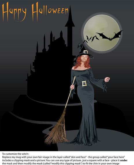 Poster da bruxa do Dia das Bruxas