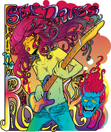 Psychedelic crazy Rock Poster Vector