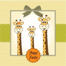Giraffe Greeting Card 01 Vector