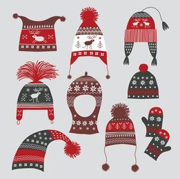 Sombreros de invierno Guantes 02 Vector