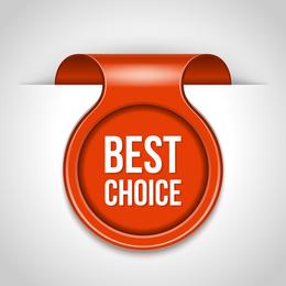 Etiqueta roja de mejor elección