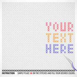 Diseño de palabras de punto de cruz