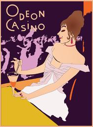 Vector de cartel retro casino
