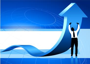 Hombres de negocios y vector de flecha dinámica