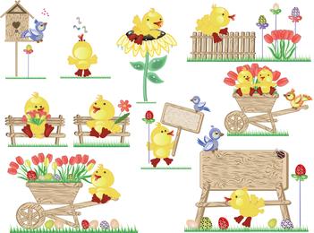 Vector Cute Easter Egg Chicks
