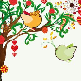 Handdrawn Ilustración Love Birds 01 Vector
