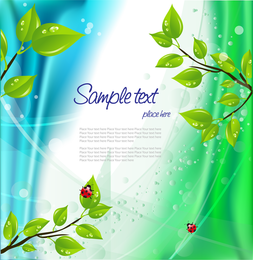 Illustrated 3D leaves with text over background