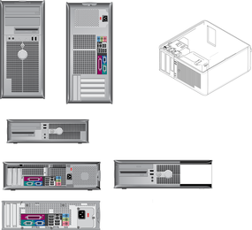Variety Of Computer Products Line Drawing Vector