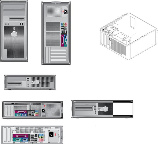 Variedad de productos de computadora dibujo vectorial lineal