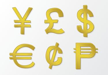 Vector de oro símbolos de dinero