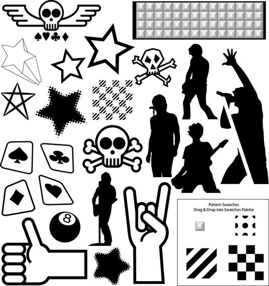 Rock star silhouette set