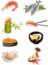 Vetor de cozinha japonesa de frutos do mar