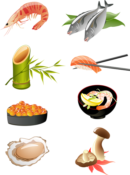 Japanese Seafood Cuisine Vector