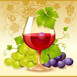 Ilustración 3D de uva y vino.