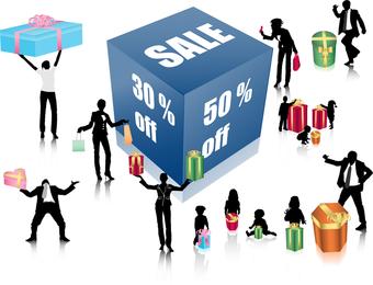 Discount Sales Figures Vector With