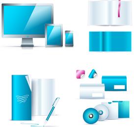 Blauer Vektor der Büroausstattung 01