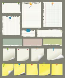 Notas adhesivas y vector de papel de desecho
