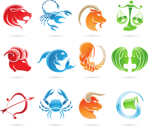 Set Of 12 Zodiac Signs Vector Graphic
