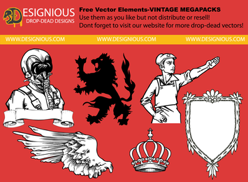 Conjunto de ilustração vintage insígnia