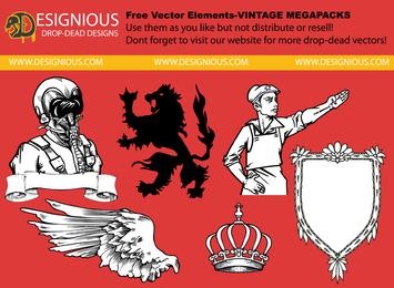 Vintage Insignien Abbildung Set