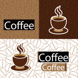 Coffee cups illustration with pattern