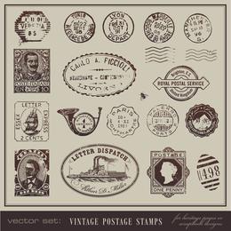 Vintage Postais E Selos 04 Vector