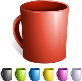 Vetor de canecas de grãos de café de café