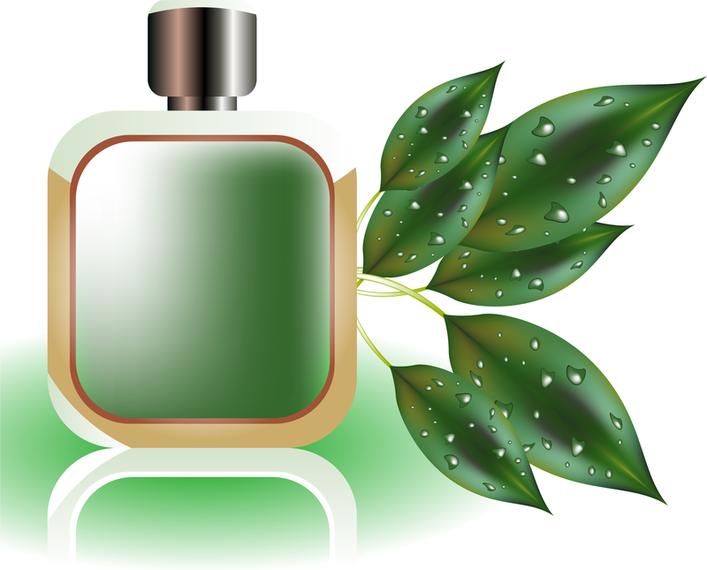 Botella de perfume verde 3D