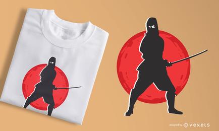 Diseño de camiseta ninja silueta