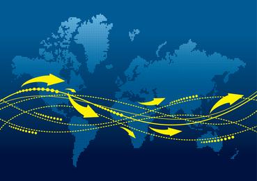 Mapa del mundo con ruta