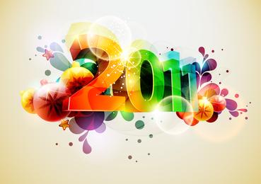 Brilho de vetor de palavra tridimensional 2011