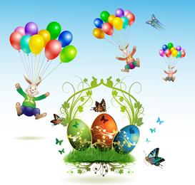 Páscoa cartões e decorações borboleta ovos 03 Vector