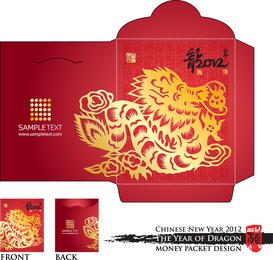 Año del Dragón Rojo Sobre Plantilla 03 Vector