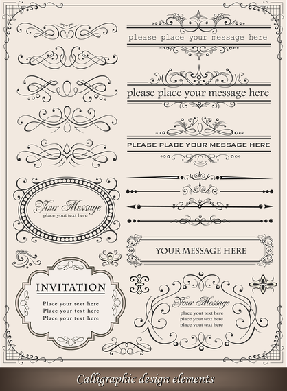 Ornament and ribbons calligraphic design set
