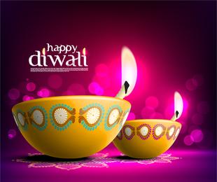 La hermosa Diwali Tarjeta 08 Vector