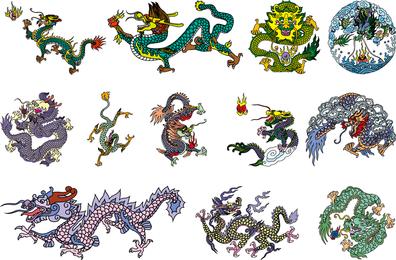 Vector dragão chinês clássico dos seis