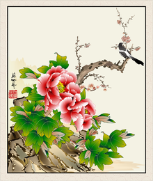 Meticulous Painting Magpie Peony Vector