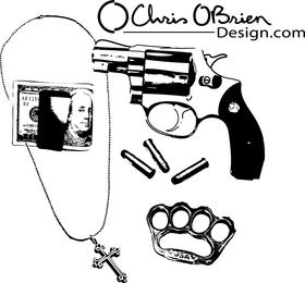 Ilustraciones de armas y otros elementos.