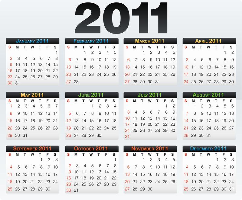 2011 Calendario.Beautiful 2011 Calendar Template Vector 4 Vector Download