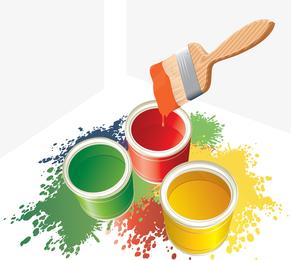 Vector colorido cubo de pintura