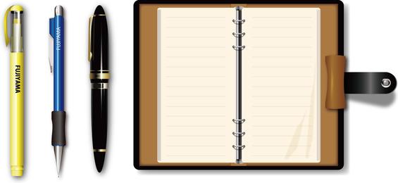 Vetor de caneta e caderno
