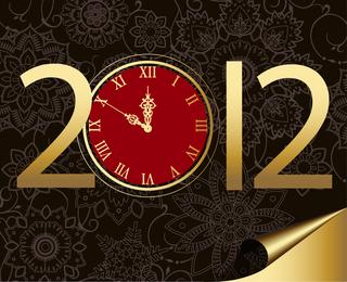 Neues Jahr 2012 mit Uhr