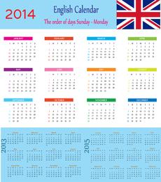 English Calendar 2014