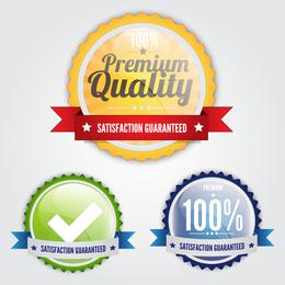 3 etiquetas redondas de garantía