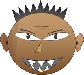 Emo Punk Angry Face Vectores