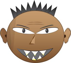 Vetores de rosto irritado punk Emo