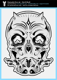 Ff 26 Devil Skull Black And White
